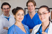 A team of four healthcare workers