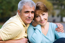 Portrait of older couple outdoors